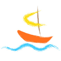 Boat sailing on the waves. Vector logo