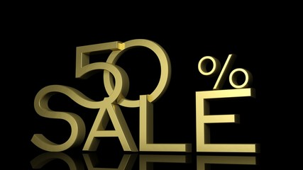 3d letters forming fifty percent symbol and the word sale