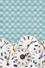 Different vintage clock faces on a retro wallpaper background