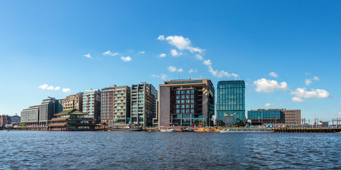 Panoramic image of modern Dutch buildings in Amsterdam