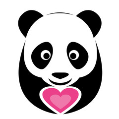 Vector image of an panda and pink heart
