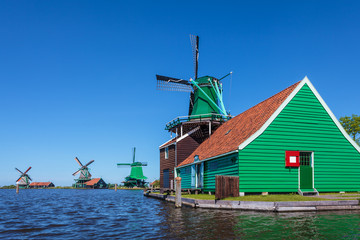 Ancient Dutch wooden windmills at the Zaanse Schans