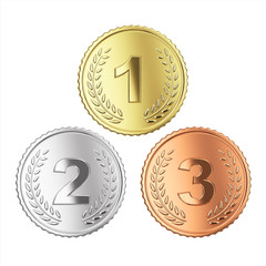 Golden, silver and bronze medal set. clipping path,
