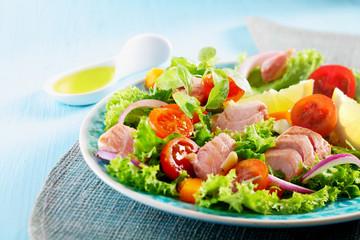 Plate with a Mediterranean chicken salad
