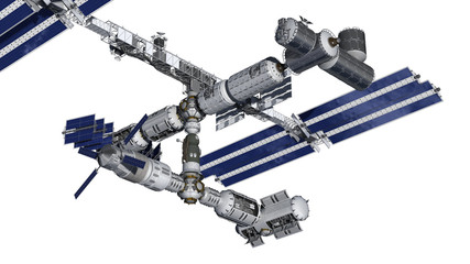 Satellite space station with isolation path on white