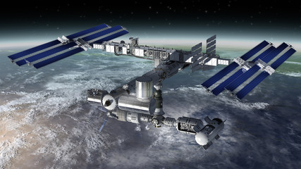 Space station modular satellite with solar panels