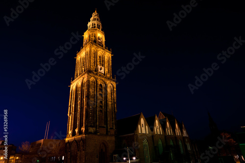Fototapete famous Martinitoren (Martini tower) in Groningen at night