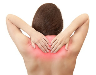 Woman holding hands her back in pain with red symbol isolated on