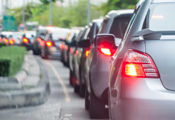 Car queue in the bad traffic road Fotomurales