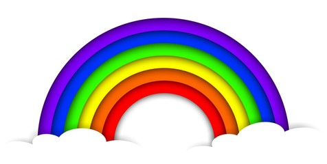 paper 3D rainbow with clouds