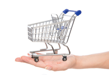 Empty shopping cart for sale on open hand