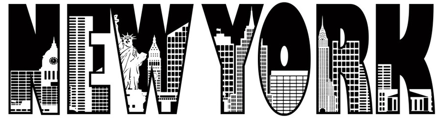New York Text Skyline Outline Illustration