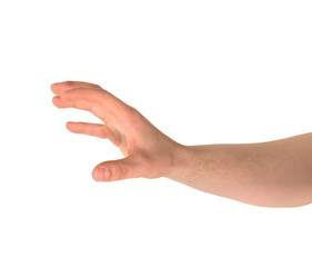 Grabbing hand gesture isolated