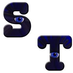 ABC Melobold blau mit Auge exclusiv Freisteller 3D