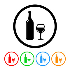 Wine Icon with Four Color Variations