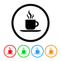 Coffee Icon Vector with Four Color Variations
