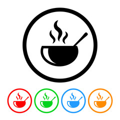 Soup Icon Vector with Four Color Variations