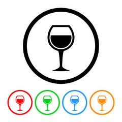 Wine Glass Icon Vector with Four Color Variations