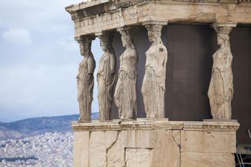 Caryatids, erechtheion temple Acropolis, Athens, Greece