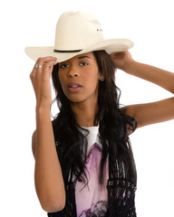 Attractive African American woman in a white hat