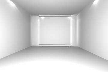 white empty room with decorate wall
