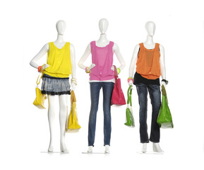 female three mannequins in bag on three background