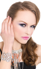 glamour girl with bright make-up-and bracelet , Jewelry