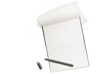 Blank notepad with pen isolated on white, free space for text