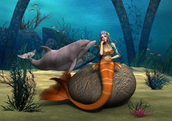 Fotobehang Zeemeermin Sad Mermaid