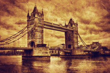 Fotomurales - Tower Bridge in London, the UK. Vintage style