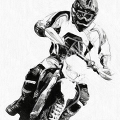 motocross B&W - oil paint