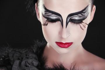Fashion Art Portrait Of Beautiful Girl. Vogue Style Woman. Close