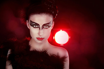 Fashion Art Portrait Of Beautiful Girl over Red lights. Woman. C