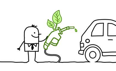 man with car & bio fuel