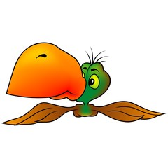 Parrot With An Orange Beak