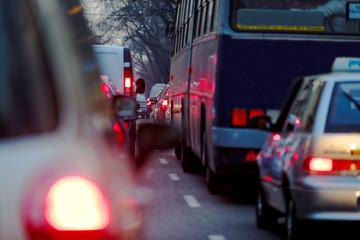 Traffic jam at rush hour