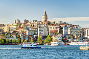 Fototapete - View of Galata district, Istanbul, Turkey