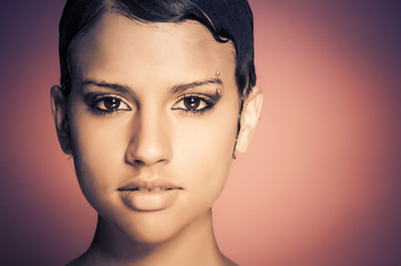 Beautiful face of young woman short hair
