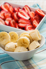 Fresh banana and strawberry