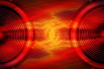 Red audio speakers music background