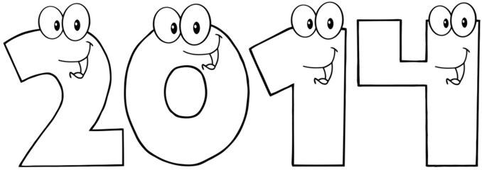 Outlined New Year Numbers Cartoon Characters
