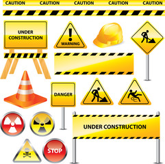 warning and under construction signs vector set