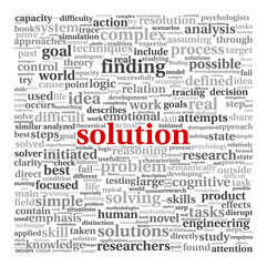 Solution concept in word tag cloud