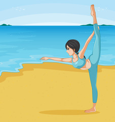 A girl stretching at the beach
