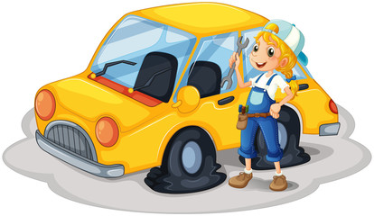 A girl holding a tool beside a car with flat tires
