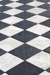 heckered marble floor going off into the distance