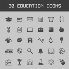 Dark education icon set on grey background
