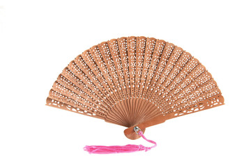Sandal-wood fan with red hanging silk knot, isolated