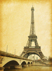 Eiffel tower.  Photo in retro style. Paper texture...