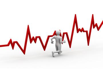 Running men with heart beat graph